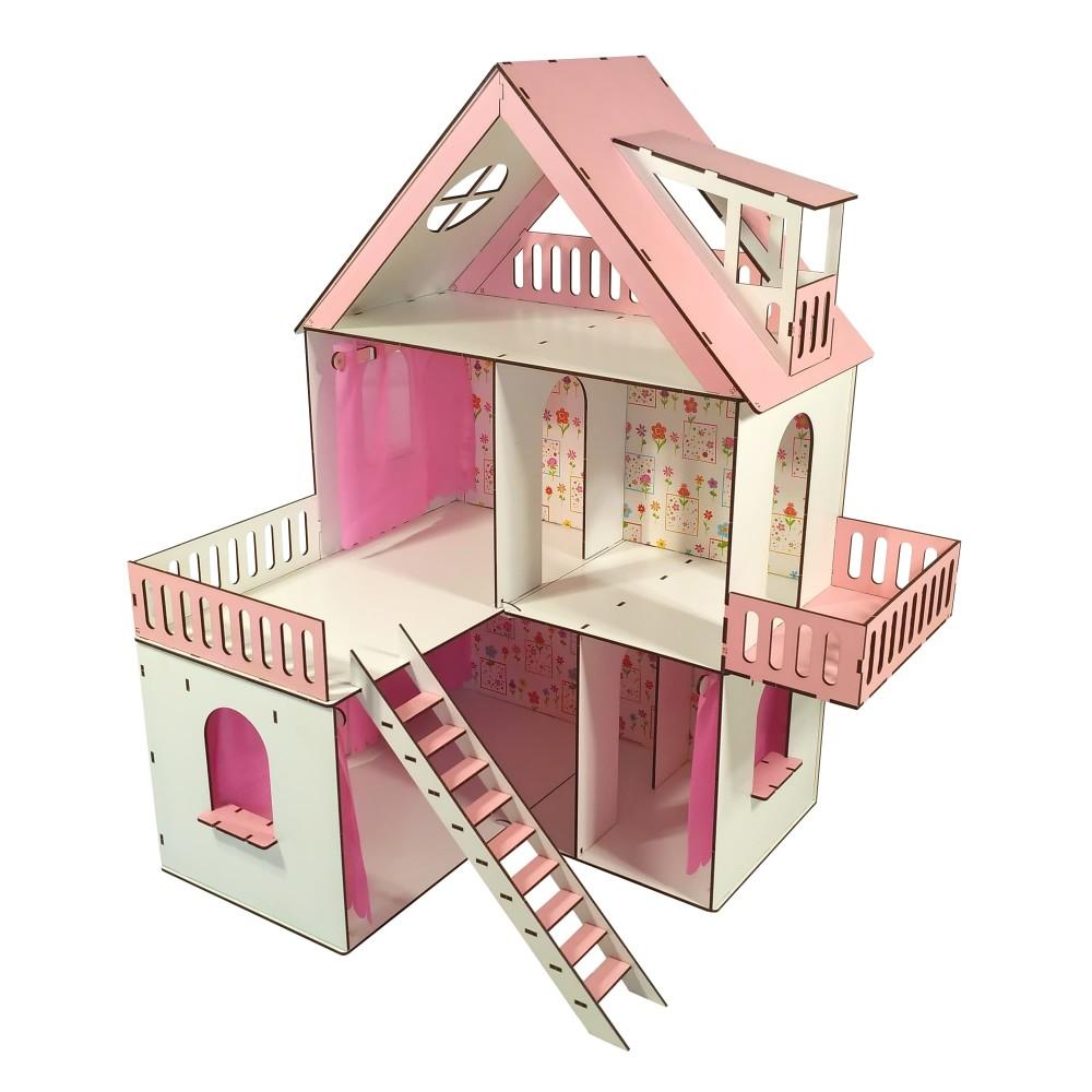 Кукольный домик Солнечная Дача с обоями и шторками