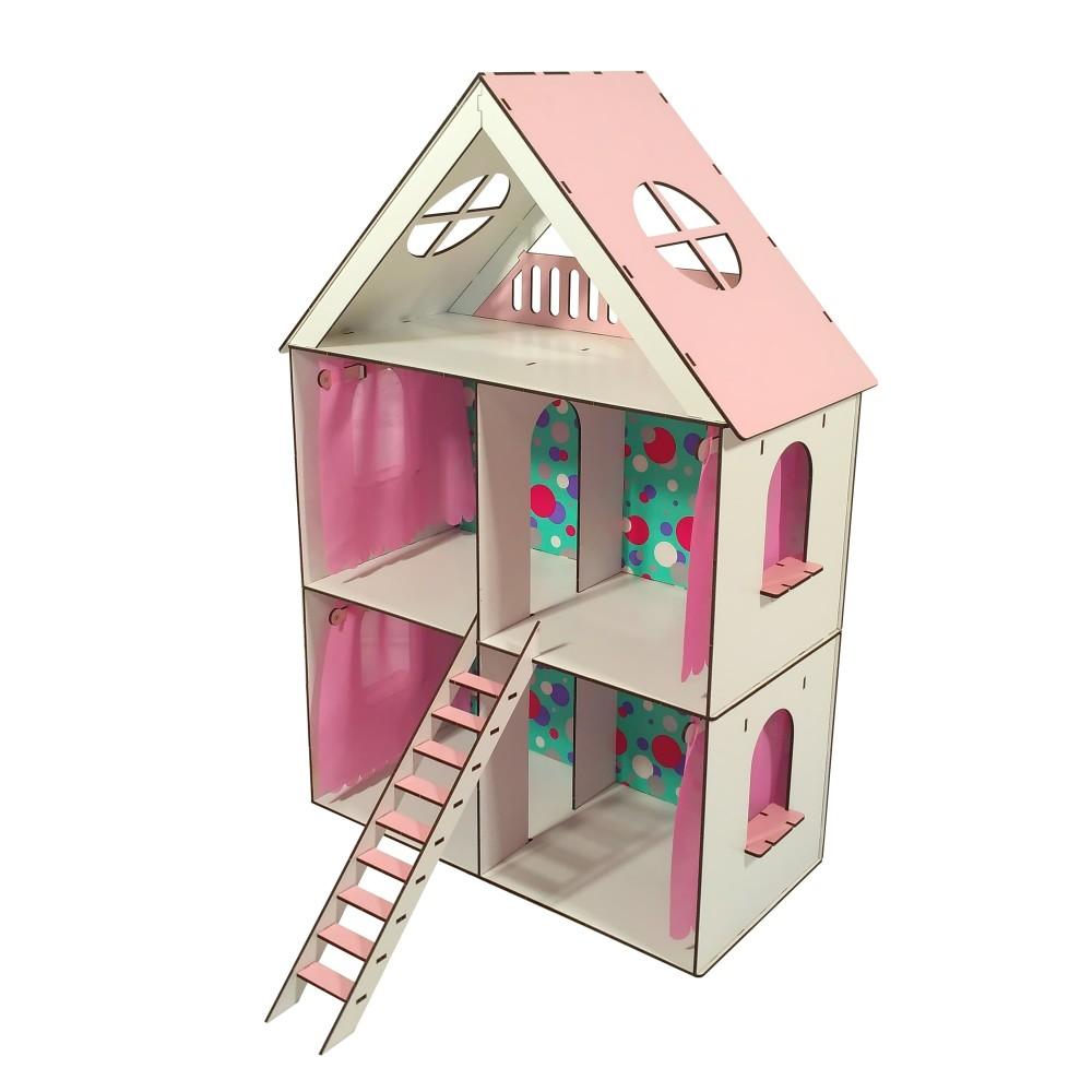 Кукольный домик LITTLE FUN maxi с обоями и шторками