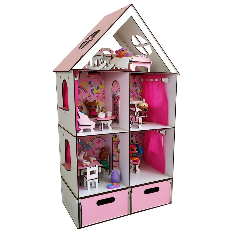 Кукольный домик LITTLE FUN maxi + мебель и БОКС для игрушек в подарок