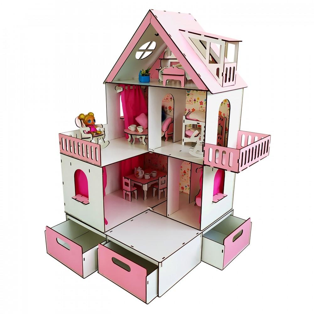 Кукольный домик Солнечная Дача + мебель и БОКС в подарок.
