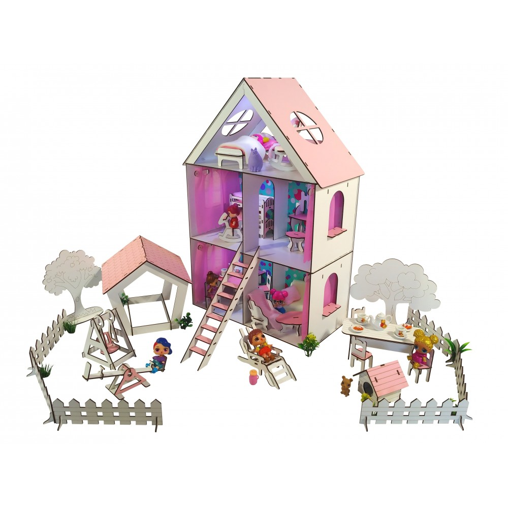 Кукольный домик LITTLE FUN maxi с Двориком