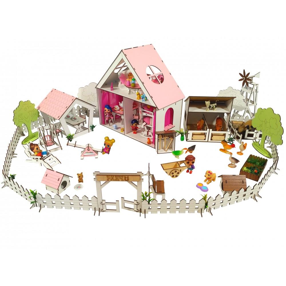 Кукольный домик LITTLE FUN с Двориком и Фермой