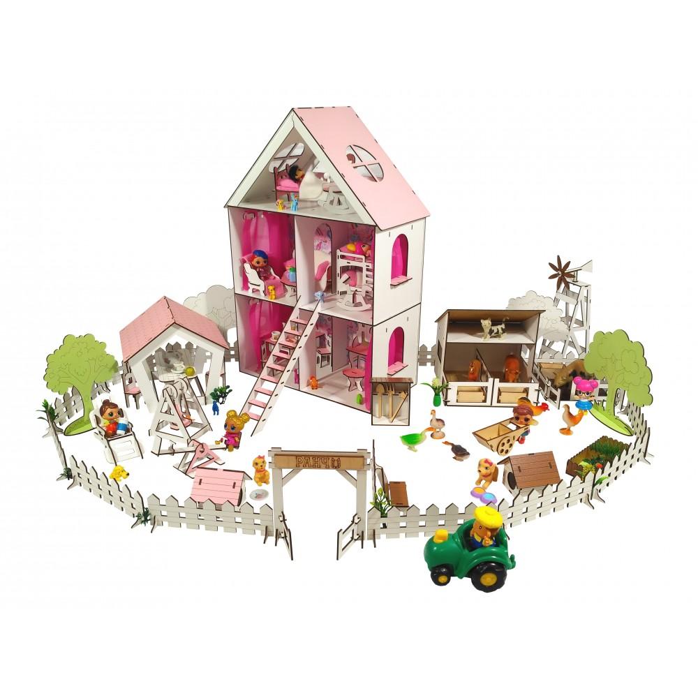 Кукольный домик LITTLE FUN maxi с Двориком и Фермой