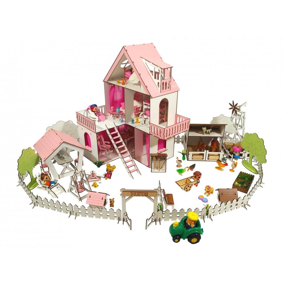 Кукольный домик Солнечная Дача с Фермой и Двориком