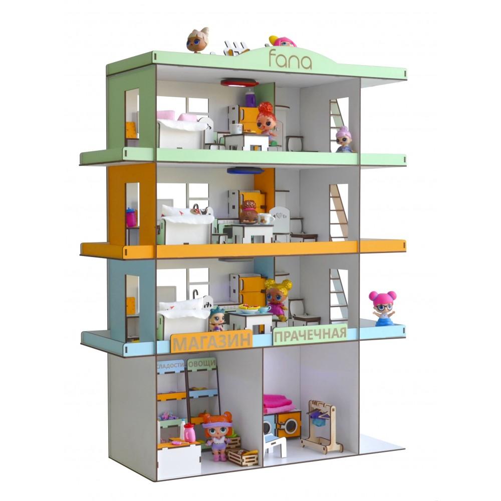 Кукольный домик Радужная Многоэтажка с мебелью и светом