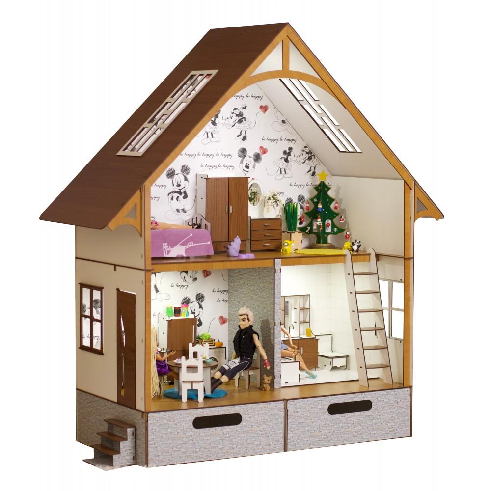 Кукольный Экодом Барби с мебелью и светом